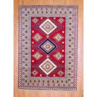Indo Hand-knotted 4 x 6-foot Red/ Salmon Kazak Wool Rug (India)