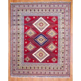 Indo Hand-knotted 6 x 9-foot Red/ Salmon Kazak Wool Rug (India)