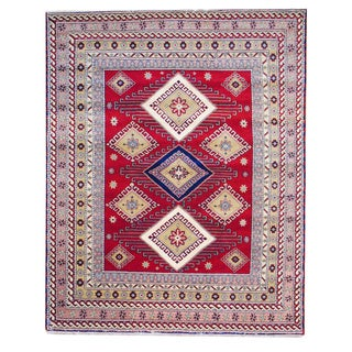 Afghan Hand-knotted Red/ Salmon Kazak Wool Rug (6&#39; x 9&#39;)