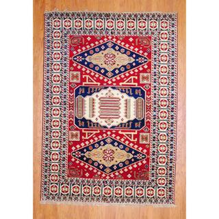 Indo Hand-knotted 4 x 6-foot Red/ Navy Kazak Wool Rug (India)
