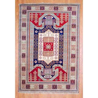 Indo Hand-knotted 4 x 6-foot Red/ Light Blue Kazak Wool Rug (India)