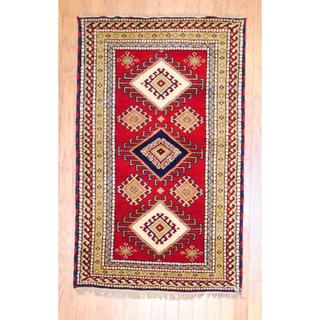 Indo Hand-knotted 3 x 5-foot Red/ Salmon Kazak Wool Rug (India)