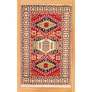 Indo Hand-knotted 3 x 5-foot Red/ Navy Kazak Wool Rug (India)