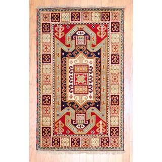 Indo Hand-knotted 3 x 5-foot Red/ Light Blue Kazak Wool Rug (India)