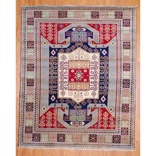 Indo Hand-knotted 6 x 9-foot Red/ Light Blue Kazak Wool Rug (India)