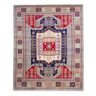 Afghan Hand-knotted Red/ Light Blue Kazak Wool Rug (6&#39; x 9&#39;)