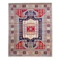 Herat Oriental Indo Hand-knotted Kazak Red/ Light Blue Wool Rug (6' x 9')