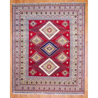 Indo Hand-knotted 8 x 10-foot Red/ Salmon Kazak Wool Rug (India)