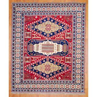 Indo Hand Knotted 8 X 10 Foot Red Navy Kazak Wool Rug India
