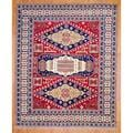 Indo Hand-knotted 8 x 10-foot Red/ Navy Kazak Wool Rug (India)