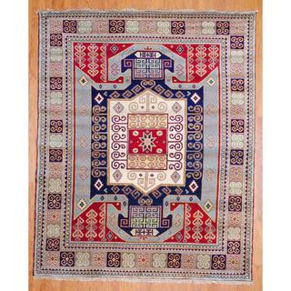 Indo Hand-knotted 8 x 10-foot Red/ Light Blue Kazak Wool Rug (India)