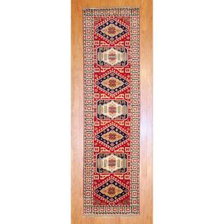 Indo Hand-knotted 2'6 x 10-foot Red/ Navy Kazak Wool Runner (India)