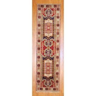 Indo Hand-knotted 2'6 x 10-foot Red/ Light Blue Kazak Wool Runner (India)