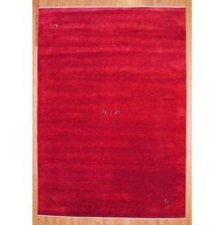 Indo Hand-knotted Red/ Blue Gabbeh Wool Rug (8' x 10')