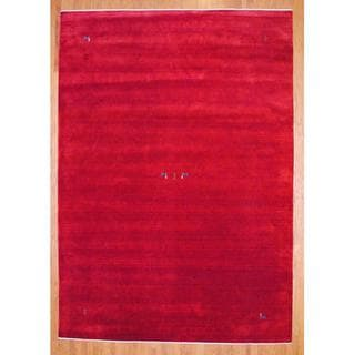 Herat Oriental Indo Hand-knotted Red/ Blue Gabbeh Wool Rug (10' x 14')