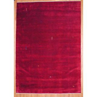 Indo Hand-knotted Dark Red/ Orange Gabbeh Wool Rug (9' x 12')