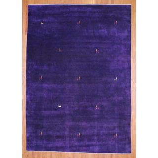 Indo Hand-knotted Purple/ Red Gabbeh Wool Rug (4' x 6')