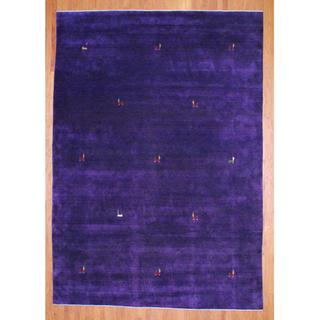 Indo Hand-knotted Purple/ Red Gabbeh Wool Rug (9' x 12')