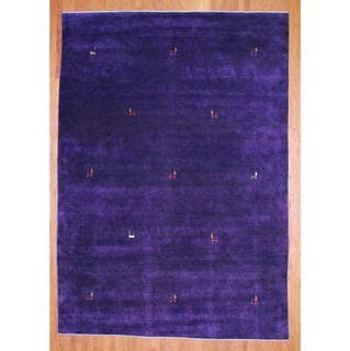 Herat Oriental Indo Hand-knotted Purple/ Red Gabbeh Wool Rug (9' x 12')