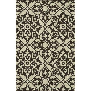 Indoor Outdoor Hudson Ivory/ Chocolate Rug (7'10 x 10'9)
