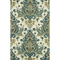 Hand-Tufted Meadow Blue/ Gold Wool Rug (3'6 x 5'6)