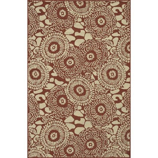 Indoor Outdoor Hudson Rust/ Ivory Rug (7'10 x 10'9)