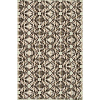 Indoor Outdoor Hudson Ivory/ Sunset Rug (7'10 x 10'9)
