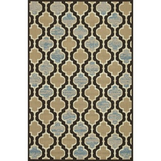 Indoor Outdoor Hudson Chocolate/ Blue Rug (7'10 x 10'9)