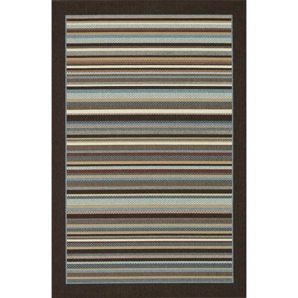 Indoor Outdoor Hudson Multi Stripe Rug (3'11 x 5'10)