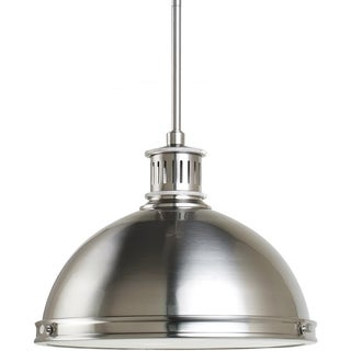 Pratt Street Metal 2-light Brushed Nickel Pendant with Glass Diffuser