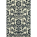 Hand-Tufted Meadow Navy Wool Rug (5'0 x 7'6)