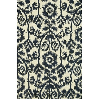 Hand-Tufted Meadow Navy Wool Rug (3'6 x 5'6)