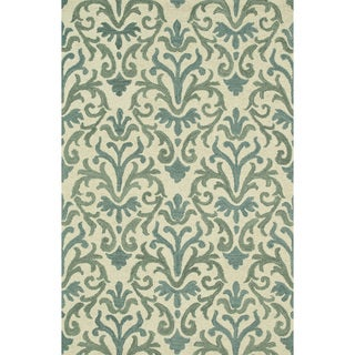Hand-Tufted Meadow Ivory/ Lt. Blue Wool Rug (5'0 x 7'6)