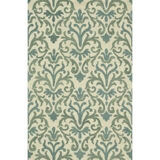 Hand-Tufted Meadow Ivory/ Lt. Blue Wool Rug (7'10 x 11'0)