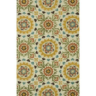 Hand-Tufted Meadow Ivory/ Green Wool Rug (3'6 x 5'6)