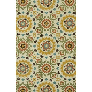 Hand-Tufted Meadow Ivory/ Green Wool Rug (7'10 x 11'0)