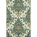 Hand-Tufted Meadow Blue/ Gold Wool Rug (5'0 x 7'6)