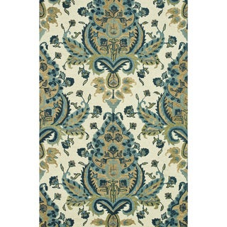 Hand-Tufted Meadow Blue/ Gold Wool Rug (7'10 x 11'0)