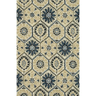 Hand-Tufted Meadow Ivory/ Navy Wool Rug (5'0 x 7'6)