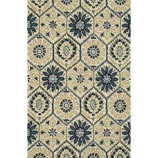 Hand-Tufted Meadow Ivory/ Navy Wool Rug (9'3 x 13)