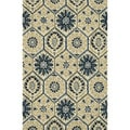 Hand-Tufted Meadow Ivory/ Navy Wool Rug (3'6 x 5'6)