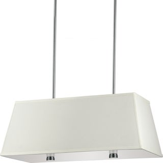 Dayna Large 4-light Brushed Nickel Rectangle Shade Pendant with Faux Silk Shade