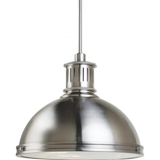 Pratt Street Metal 3-light Brushed Nickel Pendant with Glass Diffuser