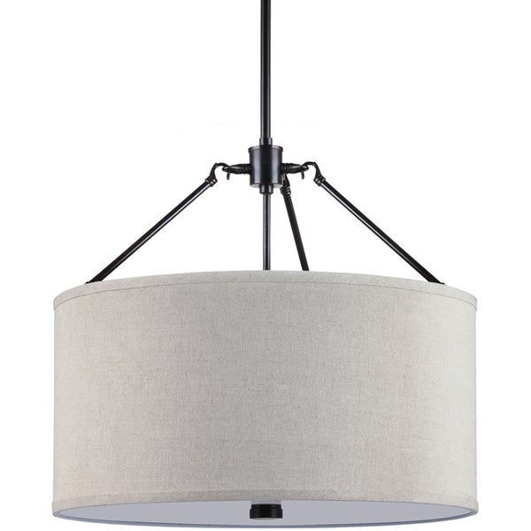 Brayden 3-light Burnt Sienna Shade Pendant with Beige Linen Shades and White Acrylic Diffuser