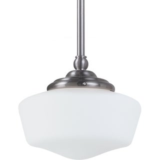 Sea Gull Lighting Academy Small One-Light Brushed Nickel Pendant Light with Satin White Schoolhouse Glass