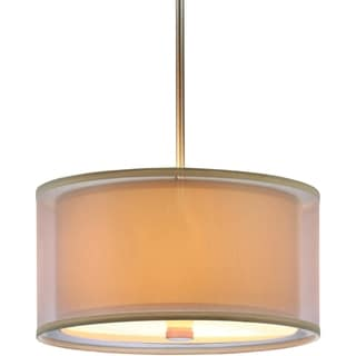 Jordyn 3-light Brushed Nickel Shade Pendant with Beige Linen Shades and White Acrylic Diffuser