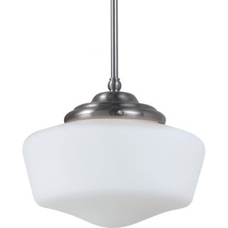 Sea Gull Lighting Academy Large One-Light Brushed Nickel Pendant Light with Satin White Schoolhouse Glass