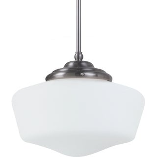 Academy Medium 1-light Brushed Nickel Pendant with Satin White Schoolhouse