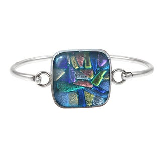 Sterling Silver Blue Square Dichroic Glass Bracelet (Mexico)