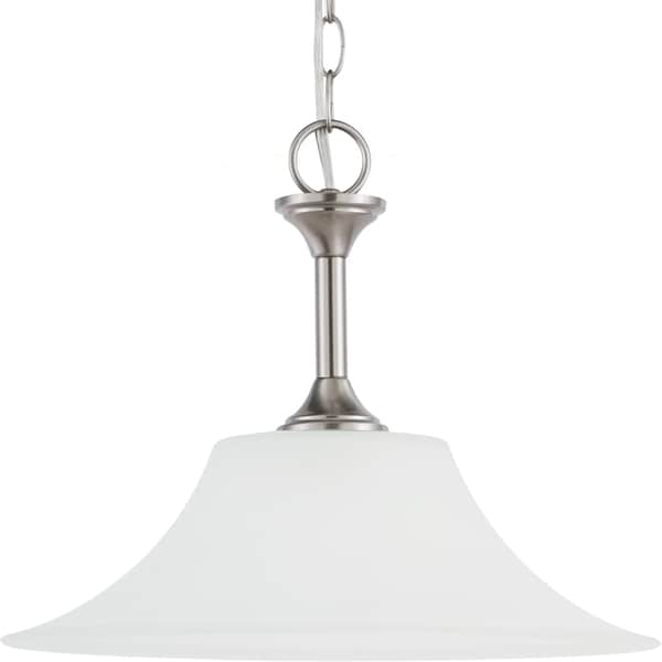 Holman One-Light 60-Watt Brushed Nickel Downlight Pendant with Satin-Etched Glass